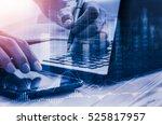 double exposure businessman and ... | Shutterstock . vector #525817957