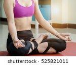 asian girl yoga lotus... | Shutterstock . vector #525821011