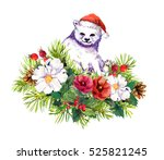 cute polar white bear  winter... | Shutterstock . vector #525821245