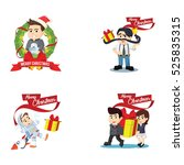 people christmas cartoon set | Shutterstock .eps vector #525835315