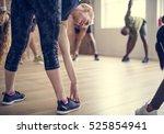 diversity people exercise class ... | Shutterstock . vector #525854941