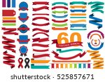 60 retro ribbons and labels... | Shutterstock .eps vector #525857671