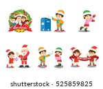 cristmas family cartoon set | Shutterstock . vector #525859825