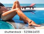 beautiful young slim woman legs ... | Shutterstock . vector #525861655