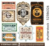Stock vector vintage labels collection design elements with original antique style set 52586326