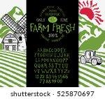 organic handwritten font farm... | Shutterstock .eps vector #525870697