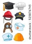 profession hats   policeman ... | Shutterstock .eps vector #525876745