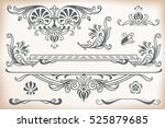 vector flowers vintage labels... | Shutterstock .eps vector #525879685