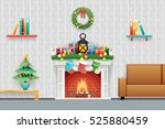 christmas new year house... | Shutterstock .eps vector #525880459