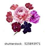 bright watercolor bouquet of... | Shutterstock . vector #525893971