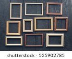 vintage frames on old wooden... | Shutterstock . vector #525902785