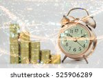 gold coins stack and alarm...   Shutterstock . vector #525906289