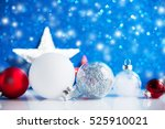 silver  red and white christmas ... | Shutterstock . vector #525910021