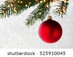red decorative ball on the... | Shutterstock . vector #525910045