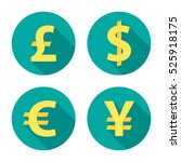 currency exchange circle icons... | Shutterstock .eps vector #525918175