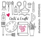 arts and crafts hand drawn... | Shutterstock . vector #525924331
