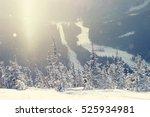 mountain ski resort sheregesh ... | Shutterstock . vector #525934981