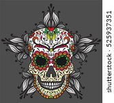 colorful mexican sugar skull.... | Shutterstock .eps vector #525937351