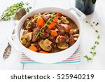 beef bourguignon in a casserole ...   Shutterstock . vector #525940219