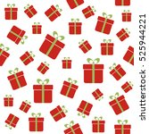 seamless pattern with red gift... | Shutterstock . vector #525944221