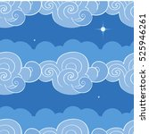 seamless pattern with clouds.... | Shutterstock .eps vector #525946261