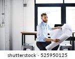 businessman blueprint architect ... | Shutterstock . vector #525950125