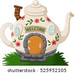 fantasy teapot houses cartoon | Shutterstock .eps vector #525952105
