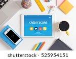 credit score concept on tablet... | Shutterstock . vector #525954151