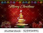 christmas background with... | Shutterstock . vector #525954991