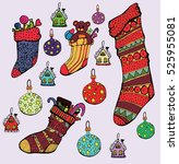 set elements of christmas decor.... | Shutterstock .eps vector #525955081