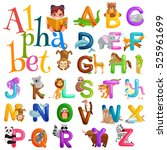 animals alphabet set for kids... | Shutterstock .eps vector #525961699