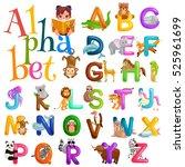 animals alphabet set for kids... | Shutterstock .eps vector #525961699