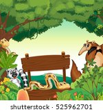 sign template with many animals ... | Shutterstock .eps vector #525962701