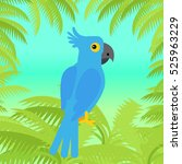 blue macaw flat design vector.... | Shutterstock .eps vector #525963229