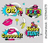 fashion patch badges with lips  ... | Shutterstock .eps vector #525964375