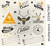 christmas decoration collection ... | Shutterstock .eps vector #525967987