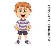 the little cute boy cartoon | Shutterstock . vector #525973315
