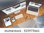 top view of a computer  laptop  ...   Shutterstock . vector #525975661