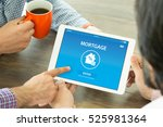 mortgage concept on screen | Shutterstock . vector #525981364