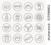 fastfood thin line icon set | Shutterstock .eps vector #525988801