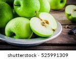 Organic Green Juicy Apples On ...