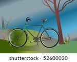 bicycle parked by a tree | Shutterstock . vector #52600030