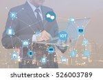 double exposure of businessman  ... | Shutterstock . vector #526003789