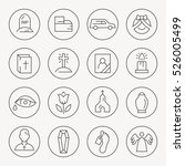 funeral thin line icon set | Shutterstock .eps vector #526005499