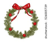 fir christmas wreath with red... | Shutterstock .eps vector #526005739