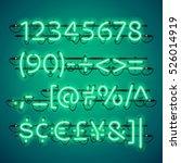 glowing neon green numbers.... | Shutterstock .eps vector #526014919
