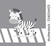 cute zebra crossing the street... | Shutterstock .eps vector #526016425