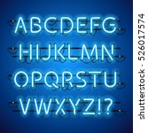 glowing neon blue alphabet.... | Shutterstock .eps vector #526017574