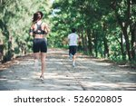 young couple running in the... | Shutterstock . vector #526020805