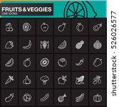 fruits and vegetables line... | Shutterstock .eps vector #526026577